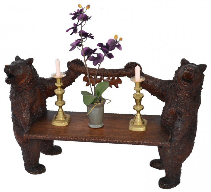 Picture of decorative wooden bear console